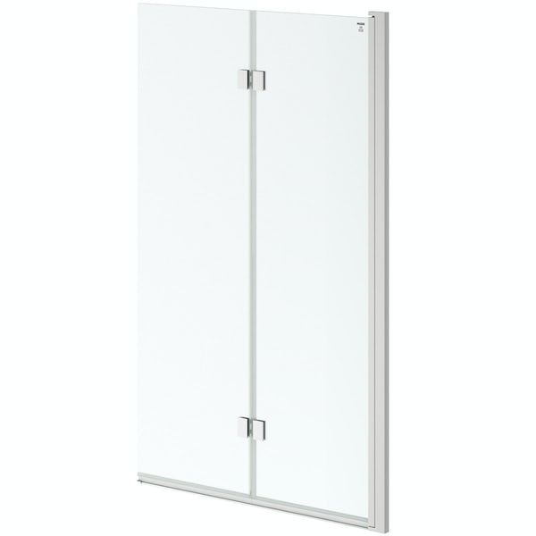 8mm square top right handed double panel folding bath screen