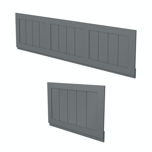The Bath Co. Dulwich stone grey wooden bath panel pack