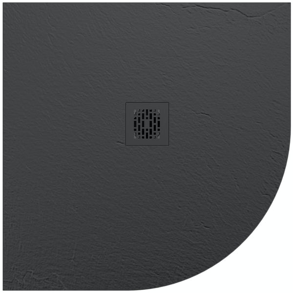 Mode slate effect black quadrant shower tray 900 x 900 with colour matched waste cover