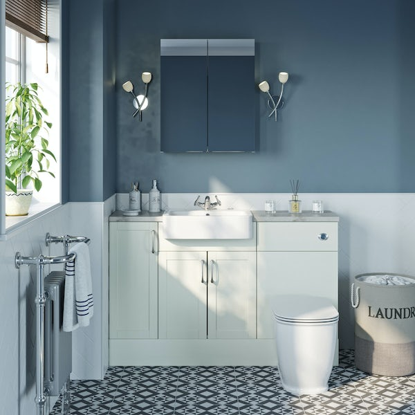 The Bath Co. Newbury white small fitted furniture & mirror combination with pebble grey worktop