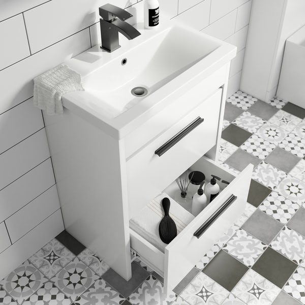 Clarity white floorstanding vanity unit and ceramic basin 600mm with tap and black handles
