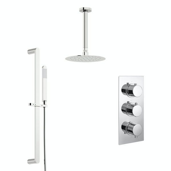Kirke Curve concealed thermostatic mixer shower with ceiling arm and slider rail