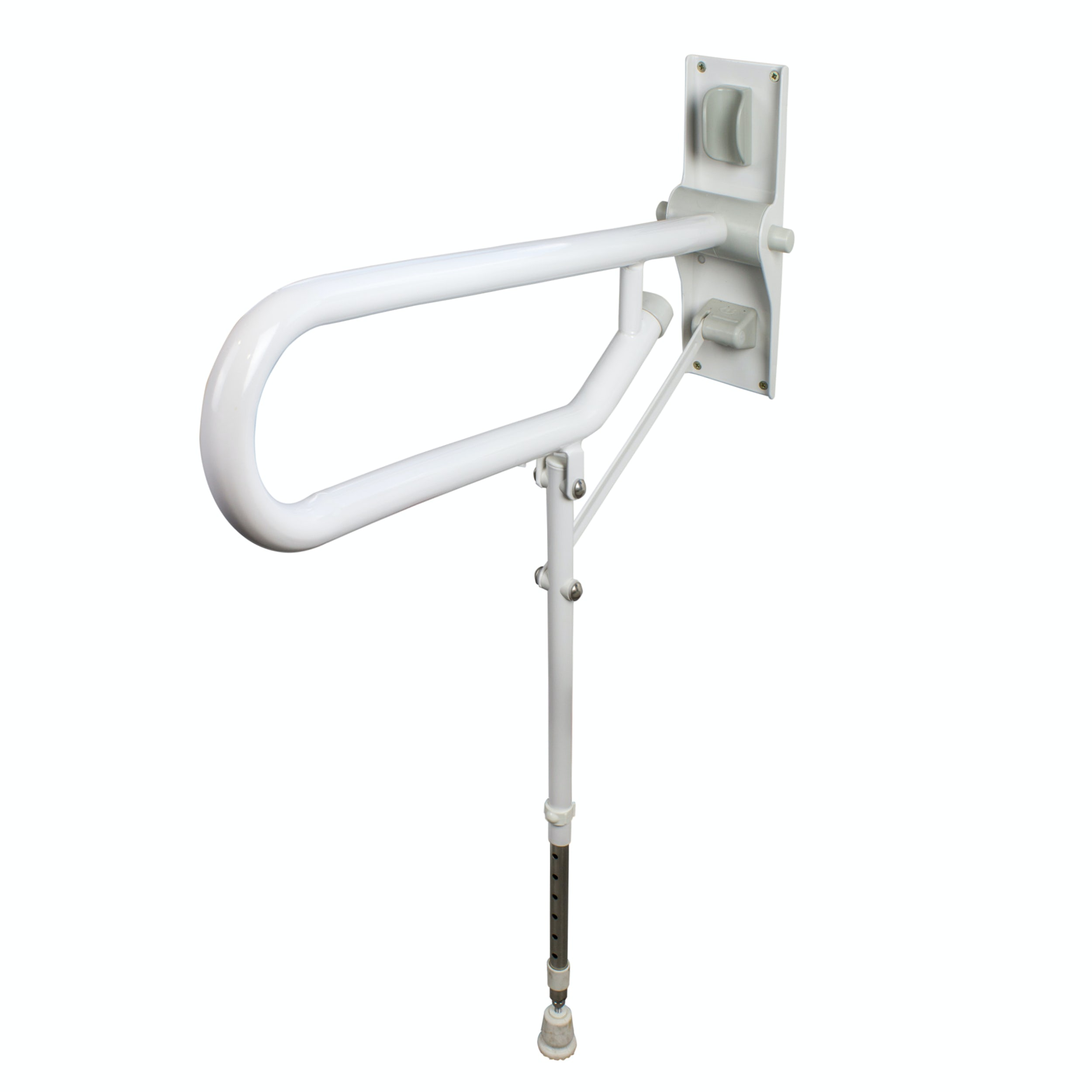 AKW Folding Support Grab Rail With Adjustable Leg White