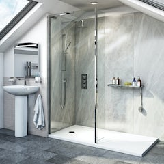 Main image for Mode 8mm walk in shower enclosure pack with hinged return panel and walk in shower tray