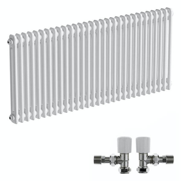 The Bath Co. Camberley white 2 column radiator 600 x 1374 with angled valves