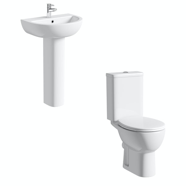 Orchard Elena cloakroom suite with full pedestal basin 450mm