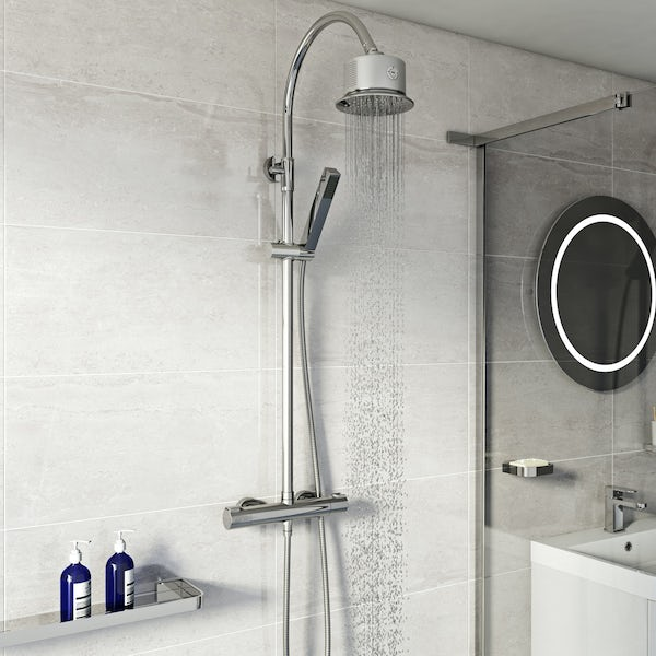 Mode Cool Touch round thermostatic exposed mixer shower with bluetooth speaker shower head