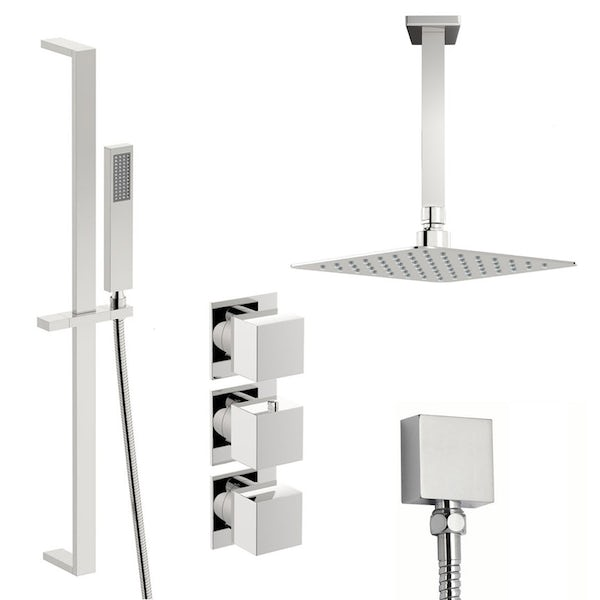 Mode Cooper thermostatic shower valve with slider rail and ceiling shower set
