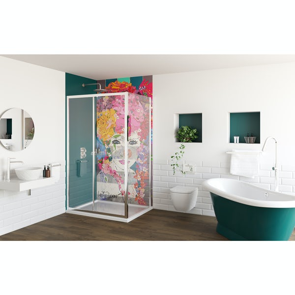 Louise Dear The Serenade Turquoise bathroom suite with freestanding bath and rectangular shower enclosure