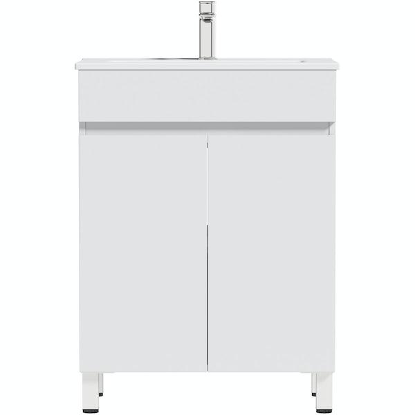 Orchard Thames white floorstanding vanity unit and ceramic basin 600mm