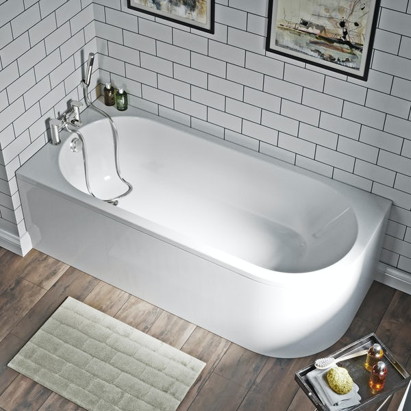 Orchard Elsdon left handed J shaped single ended bath with panel 1700 x 750