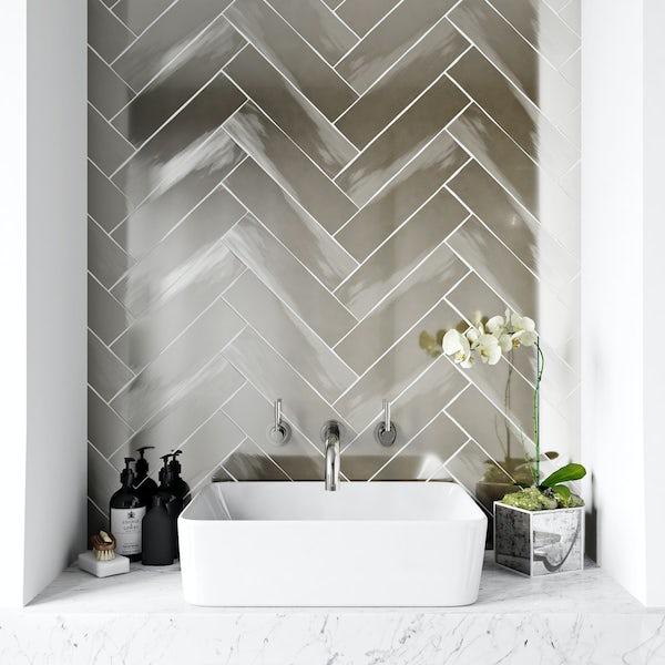 British Ceramic Tile Metallic silver wall tile 75mm x 300mm