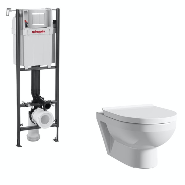 Duravit Durastyle Basic rimless wall hung toilet with soft close seat, wall mounting frame with push plate cistern