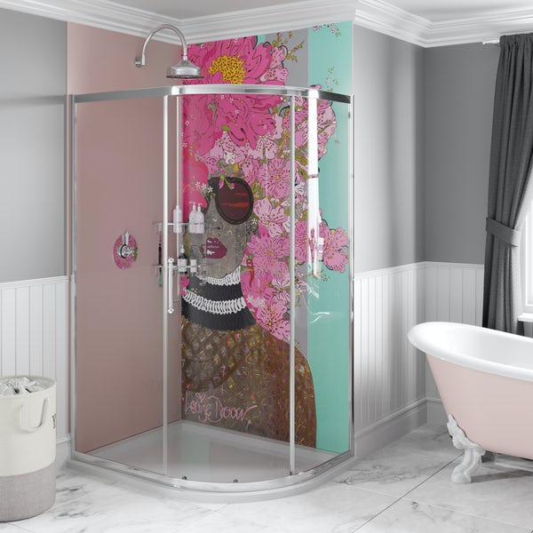 Louise Dear Kiss Kiss Bam Bam Light Pink acrylic shower wall panel pack with right handed offset quadrant enclosure