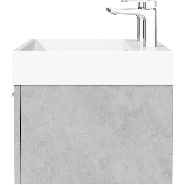 Mode Morris dark concrete grey wall hung vanity unit and basin 1200mm