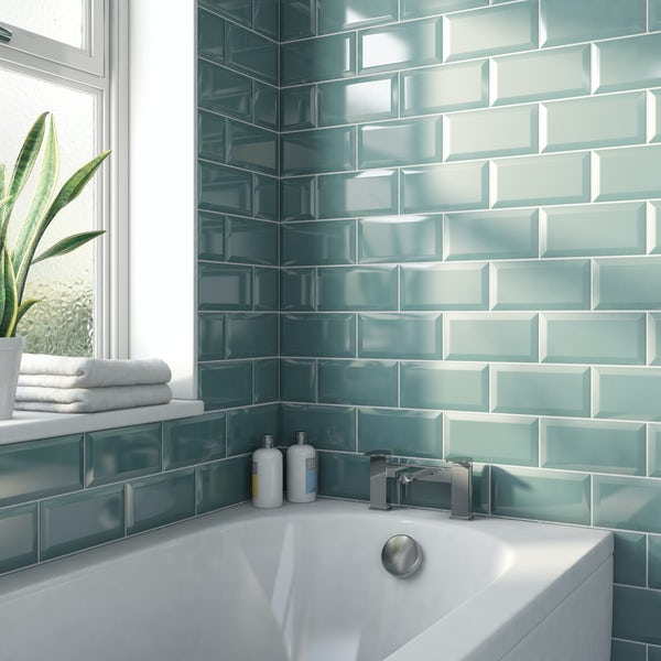 Metro Subway Turquoise Bevelled Gloss Wall Tile 100mm X