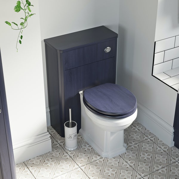 The Bath Co. Traditional back to wall toilet with Beaumont sapphire blue wooden toilet seat
