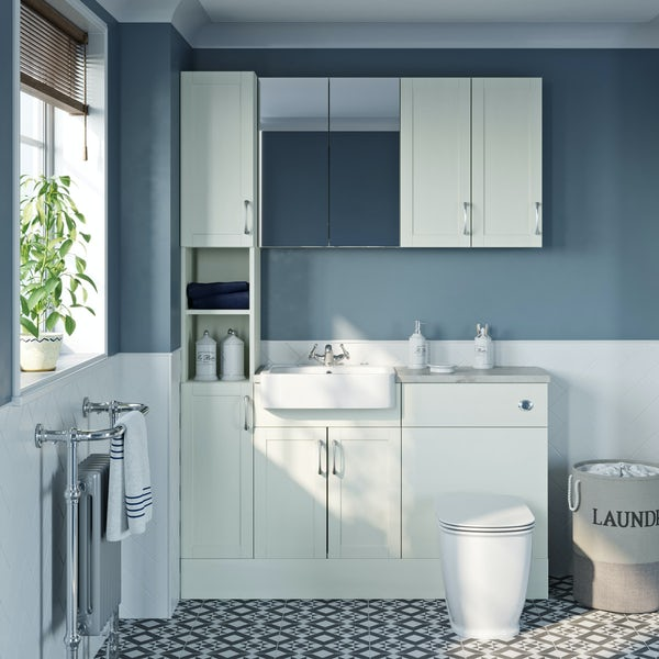 The Bath Co. Newbury white tall fitted furniture & storage combination with pebble grey worktop