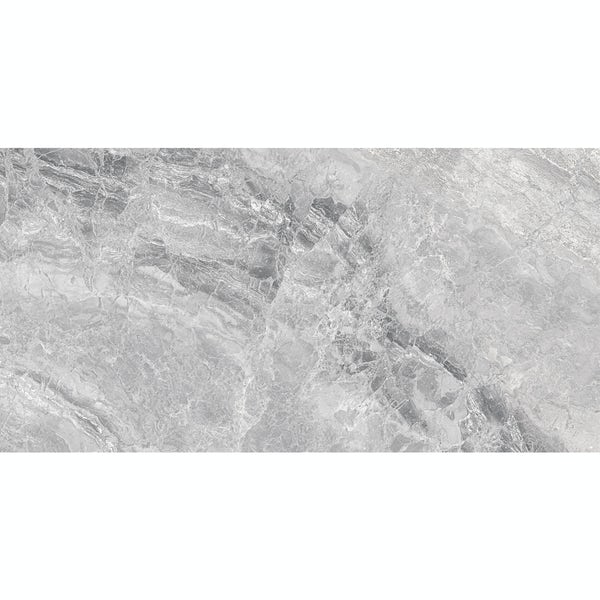 Fusion silver marble effect gloss wall and floor tile 300mm x 600mm