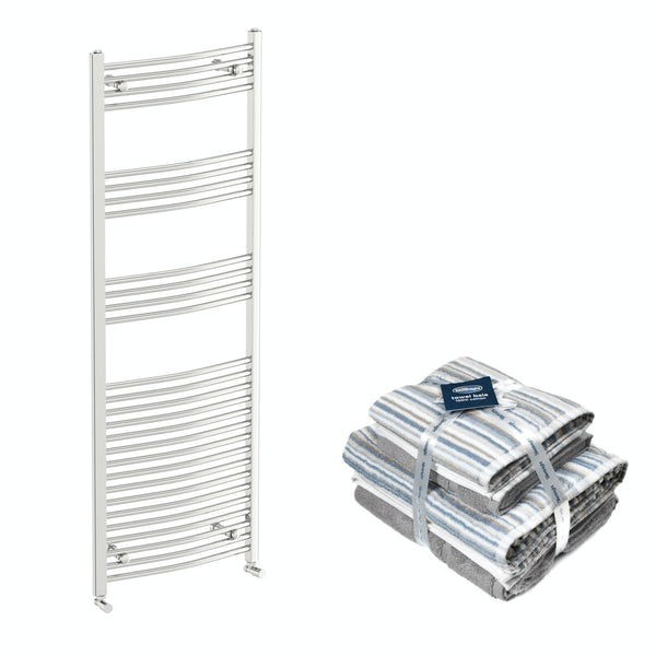 Orchard Elsdon chrome heated towel rail 1650x600 with Silentnight Zero twist grey 4 piece towel bale