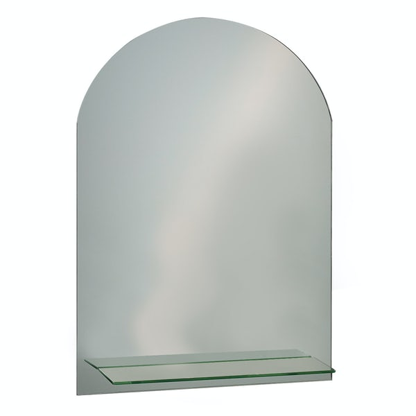 Showerdrape Greenwich 70cm x 50cm arched mirror with vanity shelf