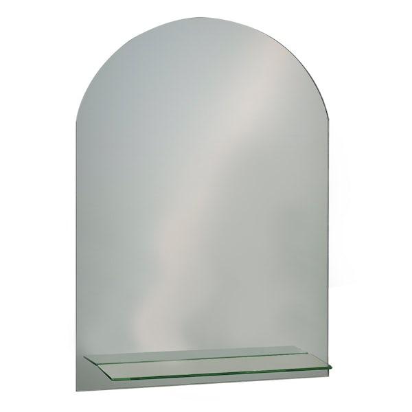 Showerdrape Greenwich 70cm x 50cm arched mirror with vanity shelf