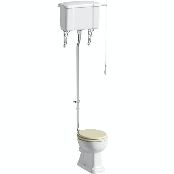 The Bath Co. Camberley high level toilet with ivory soft close seat with pan connector