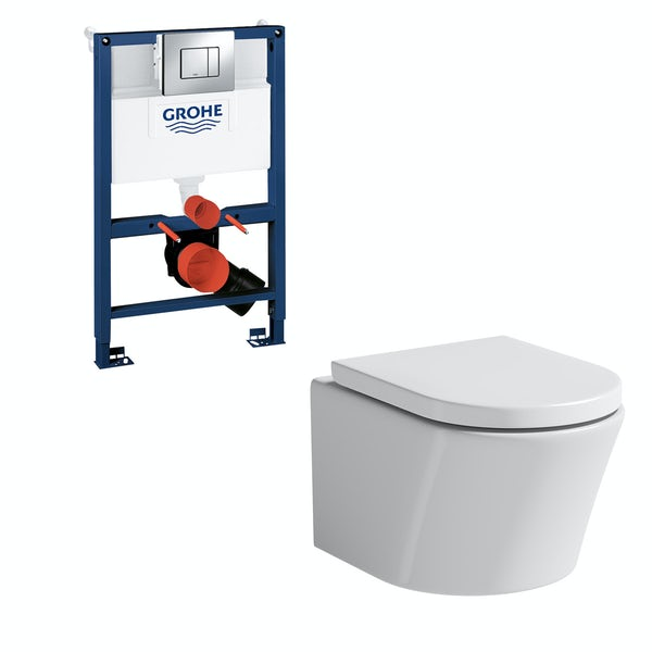 Mode Tate wall hung toilet, Grohe frame and Skate Cosmopolitan push plate 0.82m
