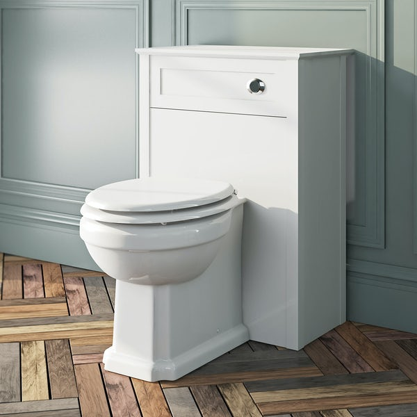 The Bath Co. Camberley back to wall toilet with white wooden seat