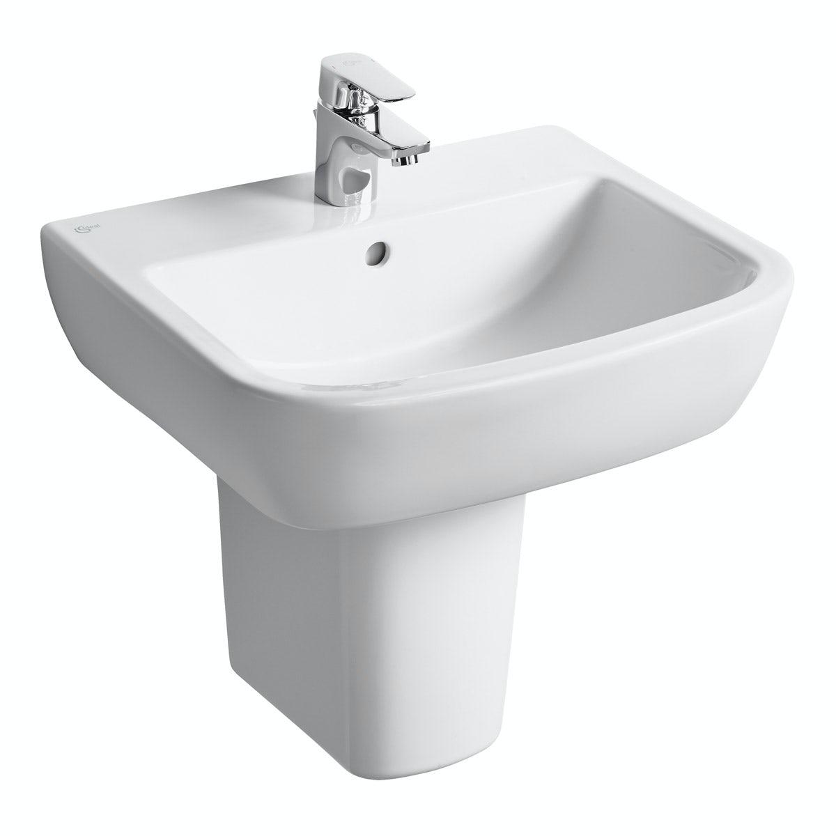 Ideal Standard Tempo 1 tap hole semi pedestal basin 550mm