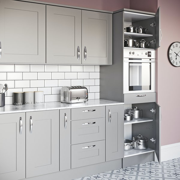 Schon New England light grey shaker 600mm single oven housing unit