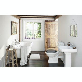 The Bath Co. Dulwich roll top bath suite with grey seat