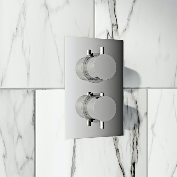 Mode Harrison square twin thermostatic shower valve with diverter