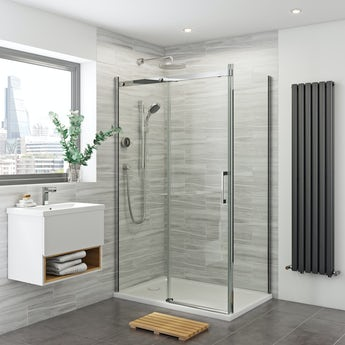 Mira Platinum complete shower bundle with Mode 8mm enclosure