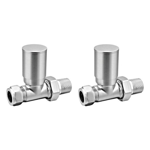 Reina Portland brushed steel straight radiator valves