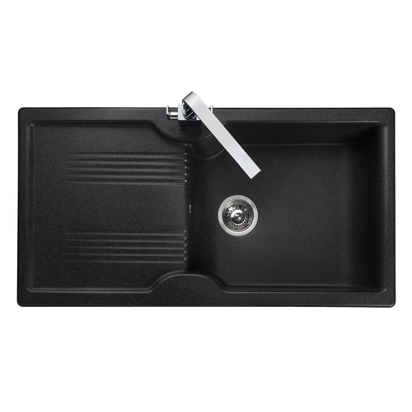 Rangemaster Lunar 1.0 bowl granite black reversible kitchen sink
