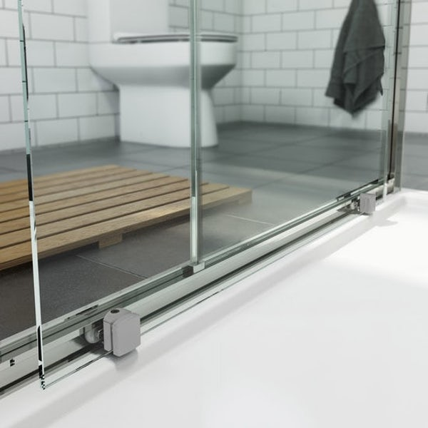 Mode Orion complete bathroom suite with contemporary charcoal grey wall hung toilet and chrome shower enclosure