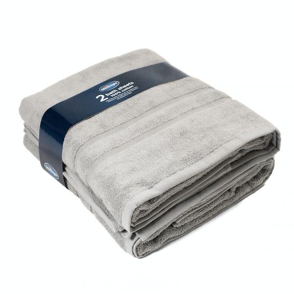Silentnight Set of 2 Grey Bath Sheet