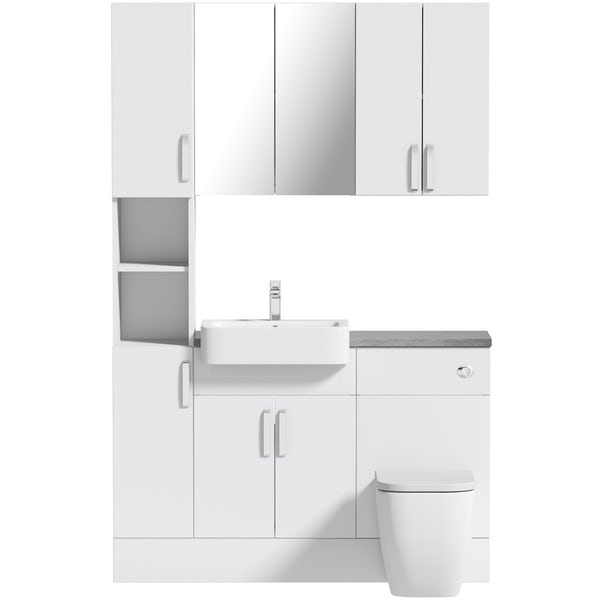 Mode Nouvel gloss white tall fitted furniture & storage combination with pebble grey worktop