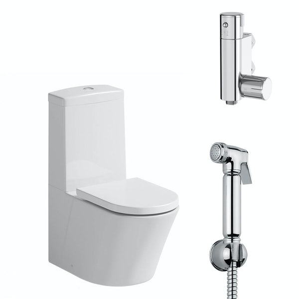 Mode Tate close coupled toilet with douche kit and soft close toilet seat