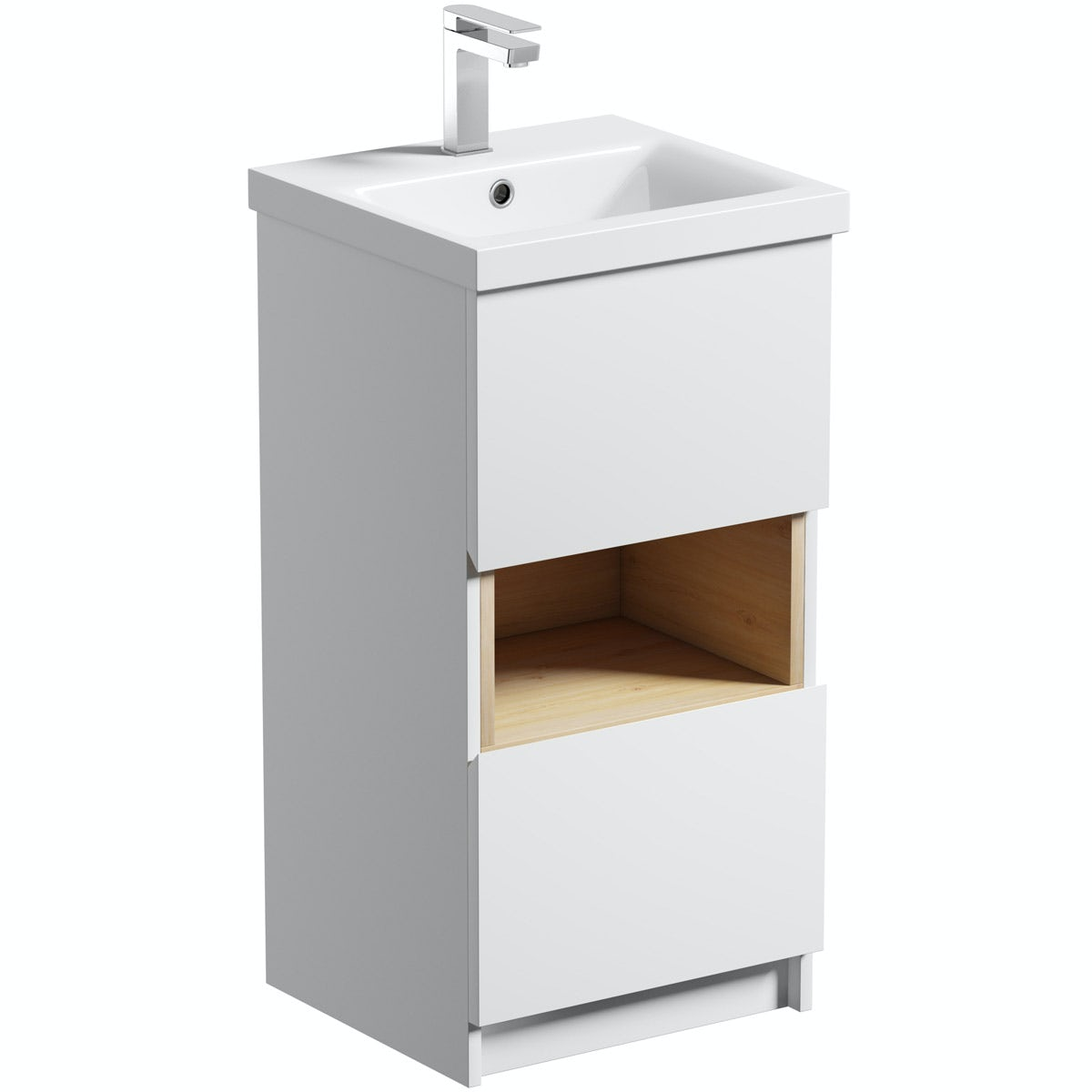 Mode Tate white & oak cloakroom vanity unit 420mm