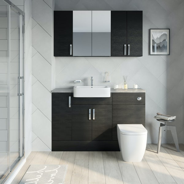 Reeves Nouvel quadro black small fitted furniture & storage combination with mineral grey worktop