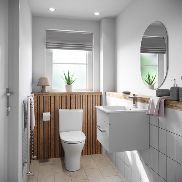 Orchard Derwent white cloakroom suite with round close coupled toilet