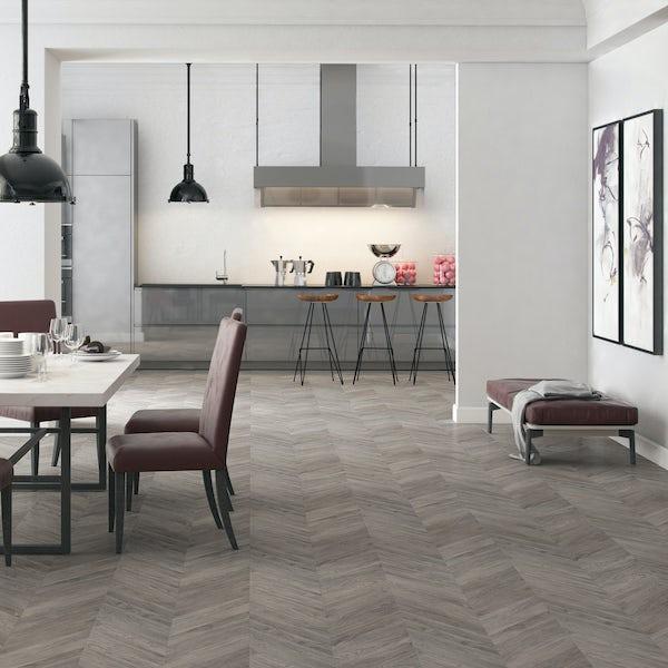 Faus Chevron Gray Oak moisture resistant click flooring 8mm