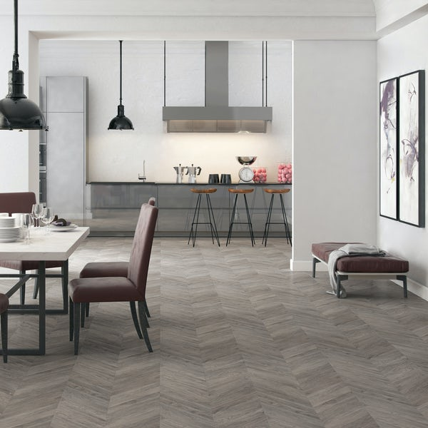 Faus Chevron Gray Oak moisture resistant click flooring 8mm