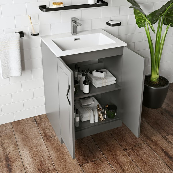 Mode Meier grey floorstanding vanity unit 600mm