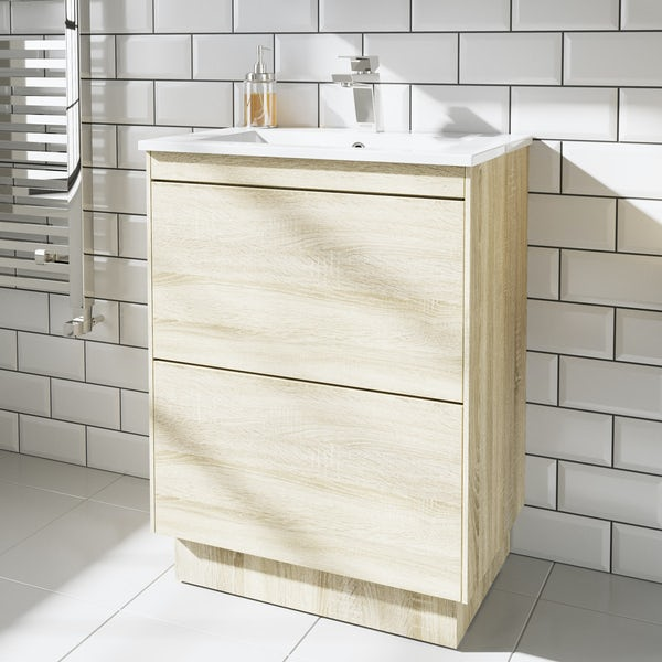 Mode Austin oak vanity unit and basin 600mm