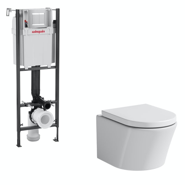 Mode Tate wall hung toilet with soft close seat and wall mounting frame with push plate cistern