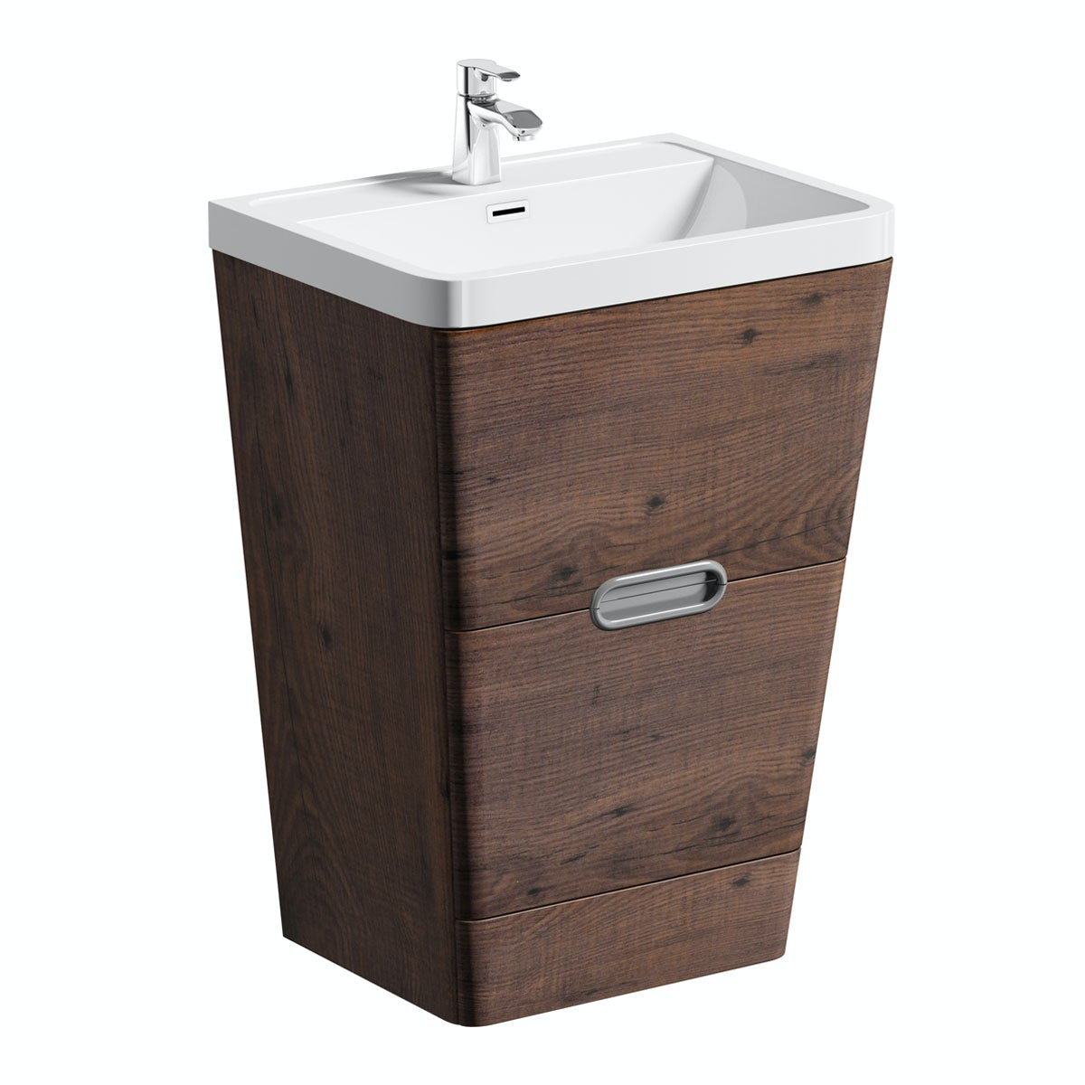 Sherwood chestnut 600 floor standing vanity unit and resin basin