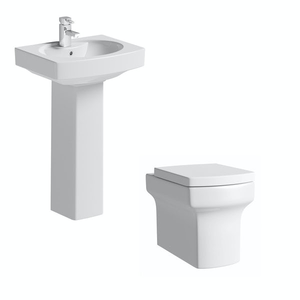 Wye back to wall toilet suite with full pedestal basin 555mm